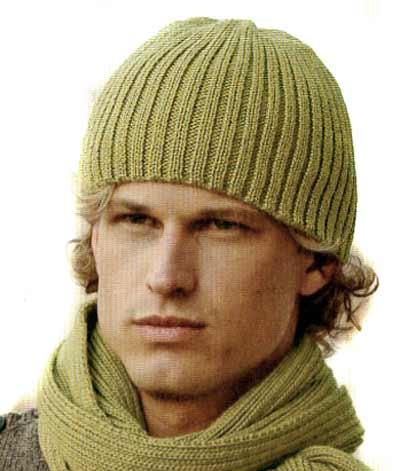 мужская шапка спицами схема