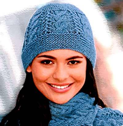женской шапки спицами со