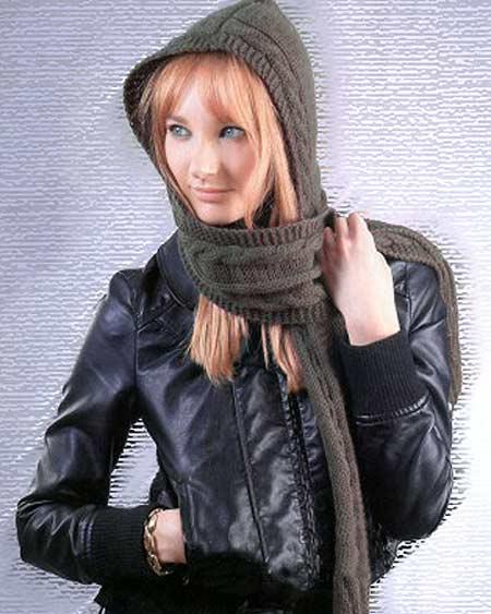 сочетание шарфа и капюшона
