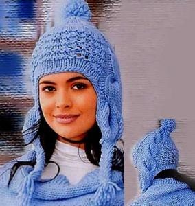 вязание спицами шапка с ушками