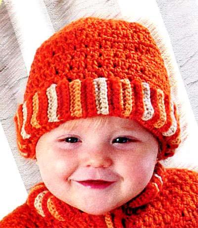 Заводной Апельсин - вязание шапок для малышей - детская шапочка крючком.