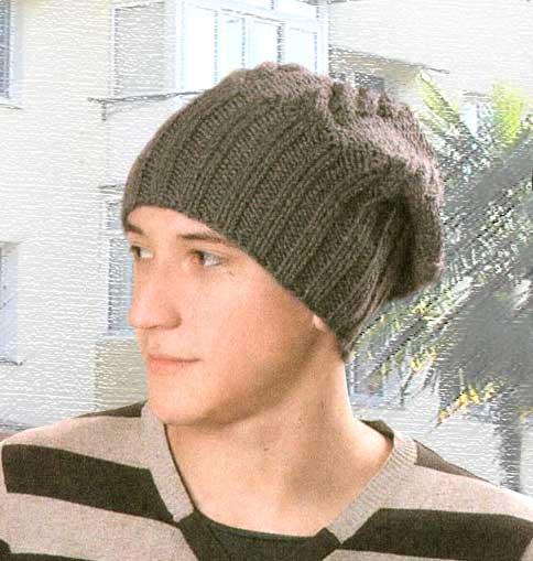 мужская шапка спицами схема.