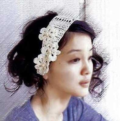 схема вязания повязки на голову спицами, а так же схема ажурного вязания.