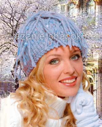 Вязание зимней шапки с косичками - описание и схема.