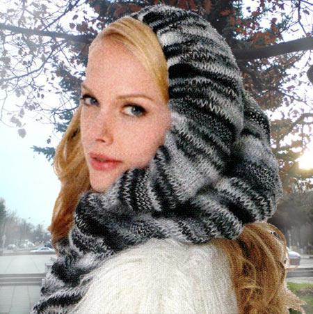 Уютное Тепло - шарф-капюшон вязание спицами.
