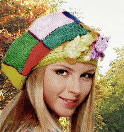 Веселая молодежная шапка-берет