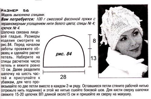 модель шапки спицами с описанием