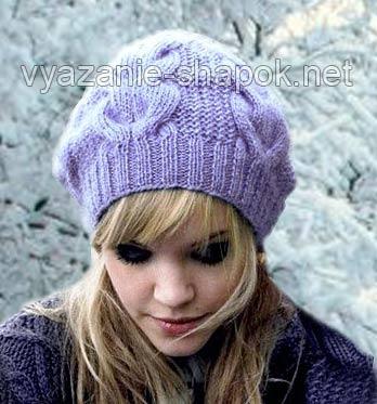Описание: Зимняя шапка спицами с узором из кос.
