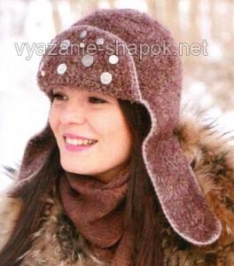 вязаная женская шапка ушанка