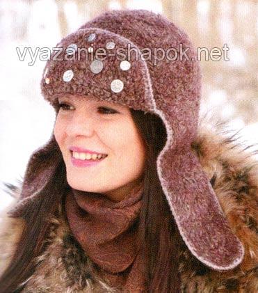 Вязаная женская шапка-ушанка крючком.