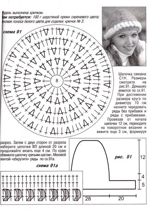 схема вязания зимней шапки