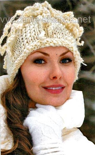 Вязание женские шапки спицами простые модели с описанием - Master class