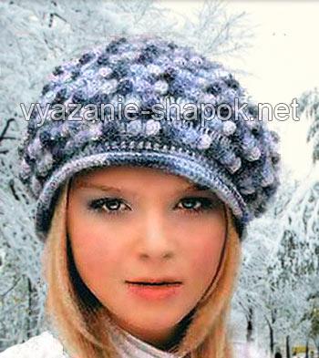 Зимний берет крючком схема и описание фото