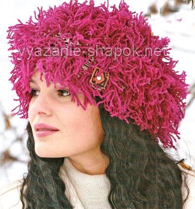 вязаная женская шапка с мехом