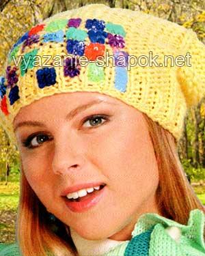 молодежная шапка спицами