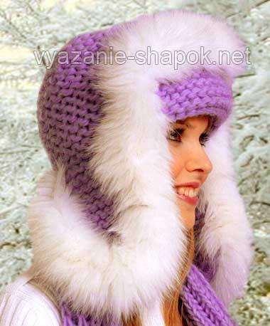 Шапка и шарф.  Вязаные шапки зимние спицами.  Вязание детской шапки. .