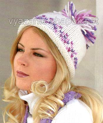 Вязаная шапка спицами с двухцветным узором и помпоном. http://vyazanie-shapok.net/vyazanay...ponom/#more-955.