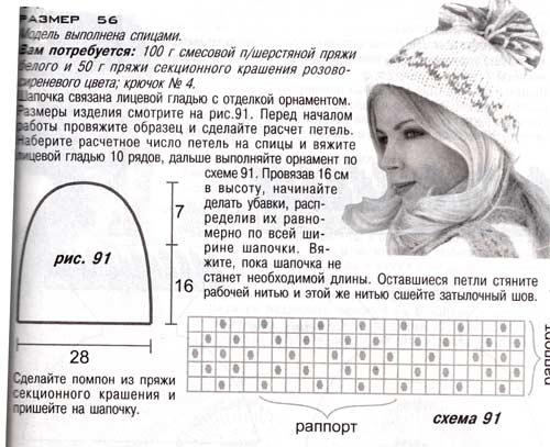 Описание: зимние шапки с меховым помпоном.  Автор: Агата.