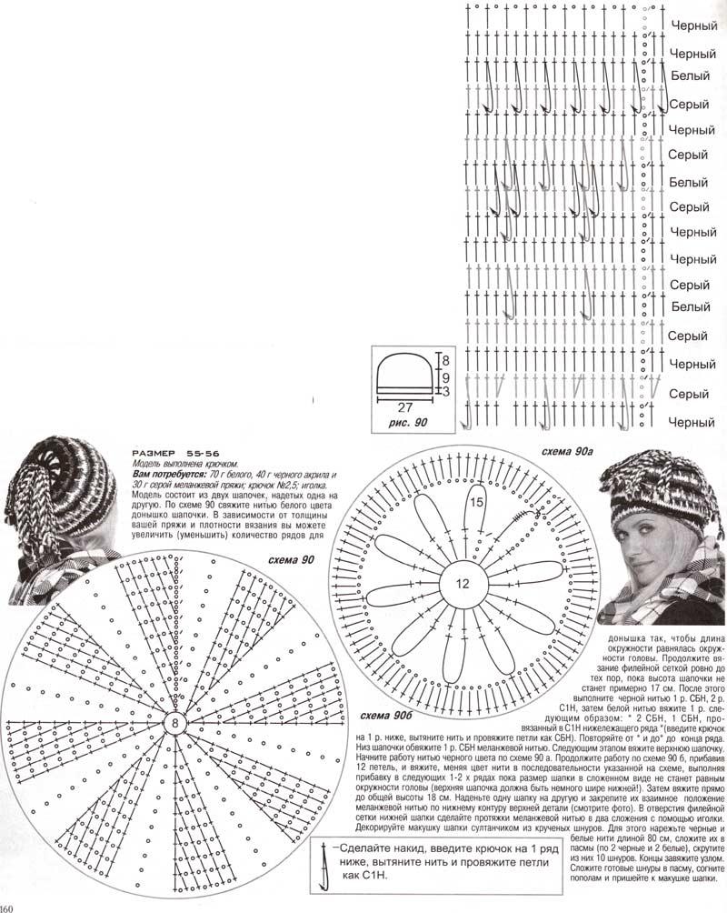 схема вязания шапки трансформера