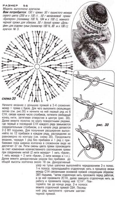 описание черно-белая шапка крючком