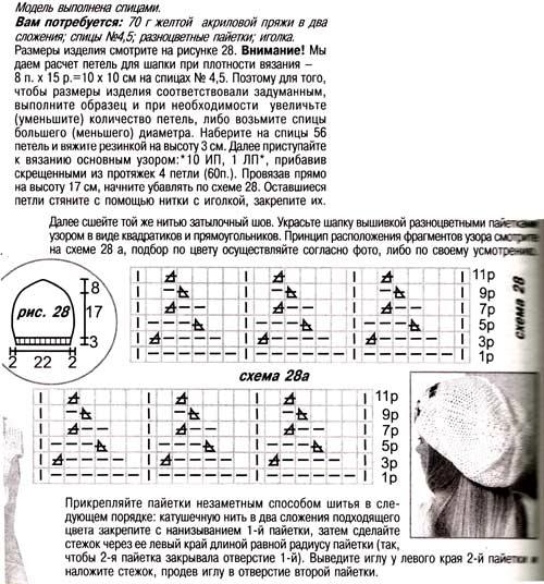 шапка спицами описание и схема
