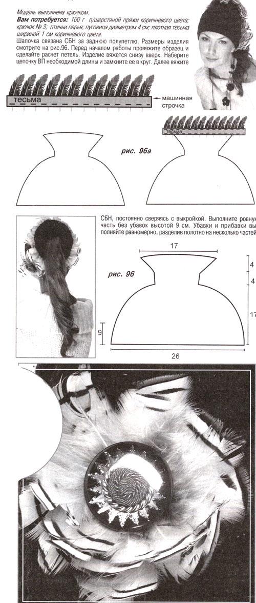 шапка спицами с хвостом