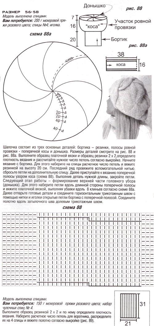 Комментарий: Рхема 11 - берет крючком схема спицами.