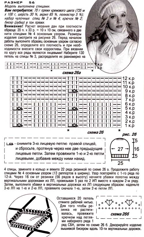 описание вязания шапка-мешок