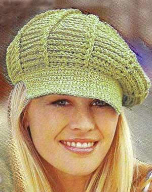 Женская вязаная кепка крючком с козырьком | ВЯЗАНИЕ ШАПОК: женские
