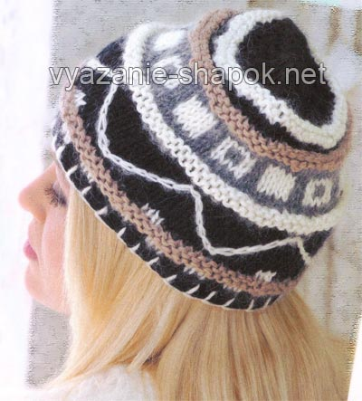 шапка с рисунком на спицах