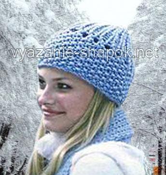 зимняя шапка узором рис
