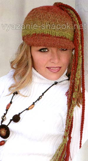 вязаная зимняя шапка-кепка