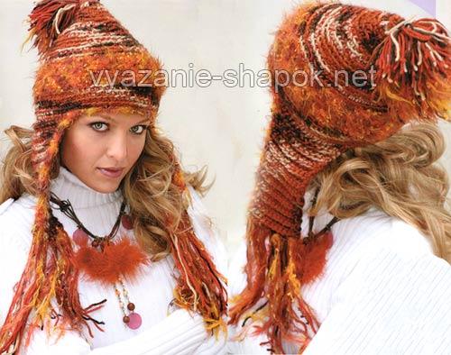 вязанная шапка с ушами и бубоном<br />
