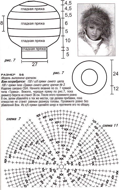 женские береты крючком схемы и описание.