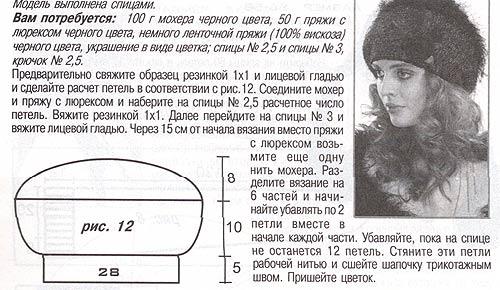 Вязание и схемы шапки кубанки 107