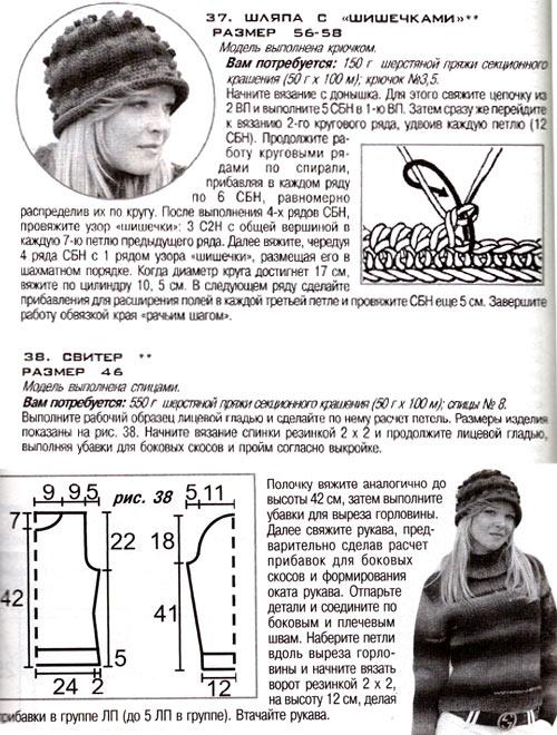 шапка спицами вязание