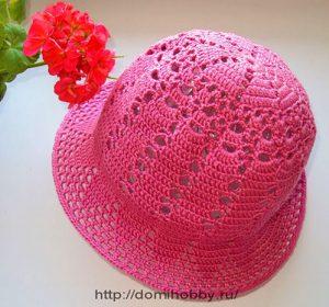 Летняя шляпка крючком с узкими полями