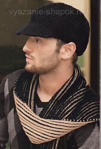 вязаная мужская кепка