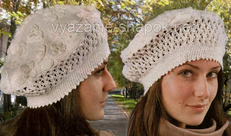 осенняя ажурная шапка женская связать.