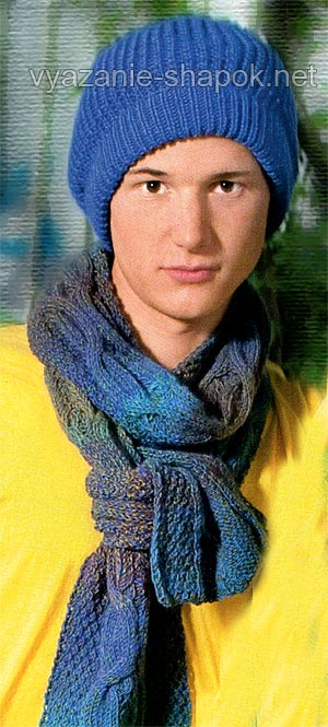 Вязание мужской шапки спицами,