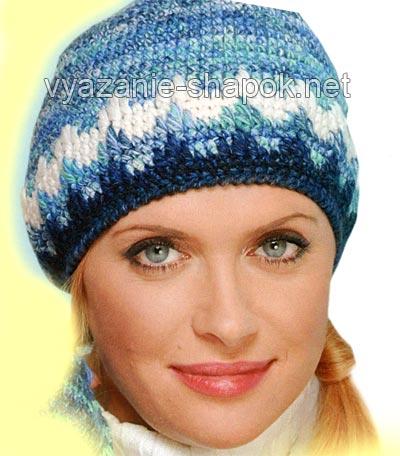 шапка женская крючком со