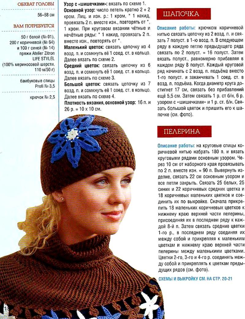 Шапки вязаные спицами женские с описанием и фото 21 фотография
