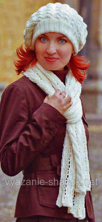 шарф спицами с узором