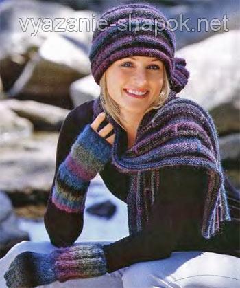 налобная повязка и шарф спицами