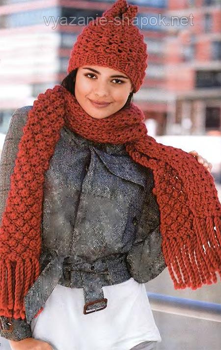 вязаная зимняя шапка и тёплый