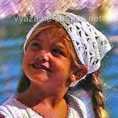 Предлагаю связать для маленькой девочки ажурную косынку от солнца на лето. Платок вяжется крючком по схеме, приведенной внизу