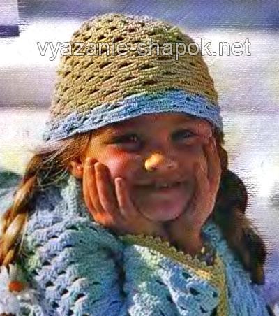 летняя шапочка крючком на девочку