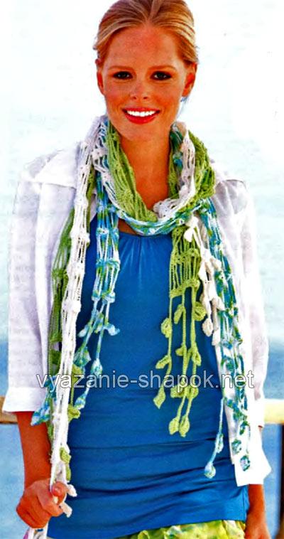 ажурный летний шарф крючком