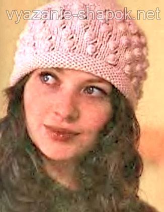 шапка женская спицами связать