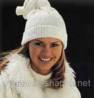 женская шапка спицами со схемой